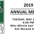 The Selma-Dallas County Historic Preservation Society invites you to our Annual Meeting at 6:00 PM on Tuesday, May 21, 2019 at Miss Minnie Sue's Cottage, 622 McLeod Avenue, Selma, AL […]
